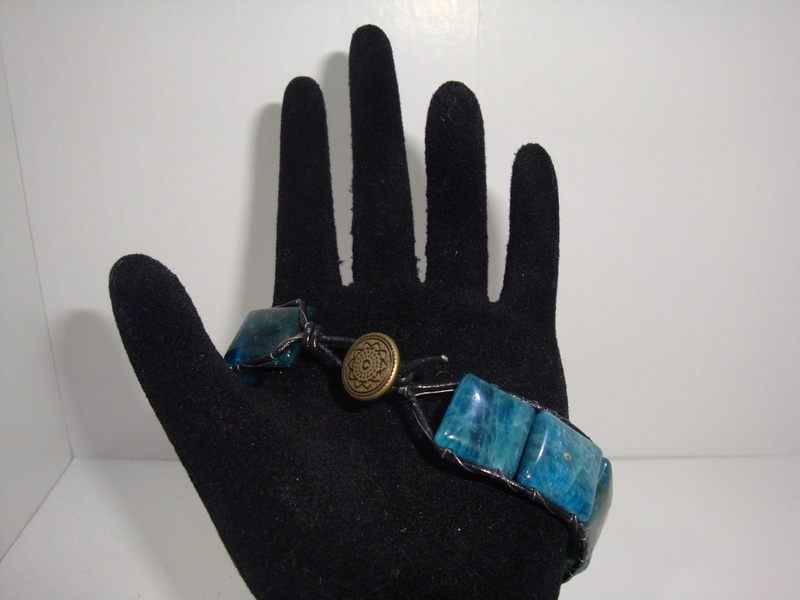 Leather Wrapped Apatite (Item #2127) $25.00